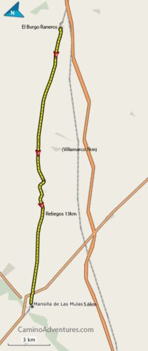 El Burgo Raneros to Mansilla de Las Mulas Map