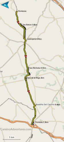 Hontanas to Fromista Map