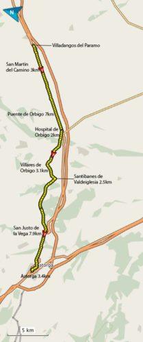 Villadangos Del Paramo to Astorga Map