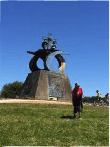 Statue commemorating the Camino Santiago and John Paul