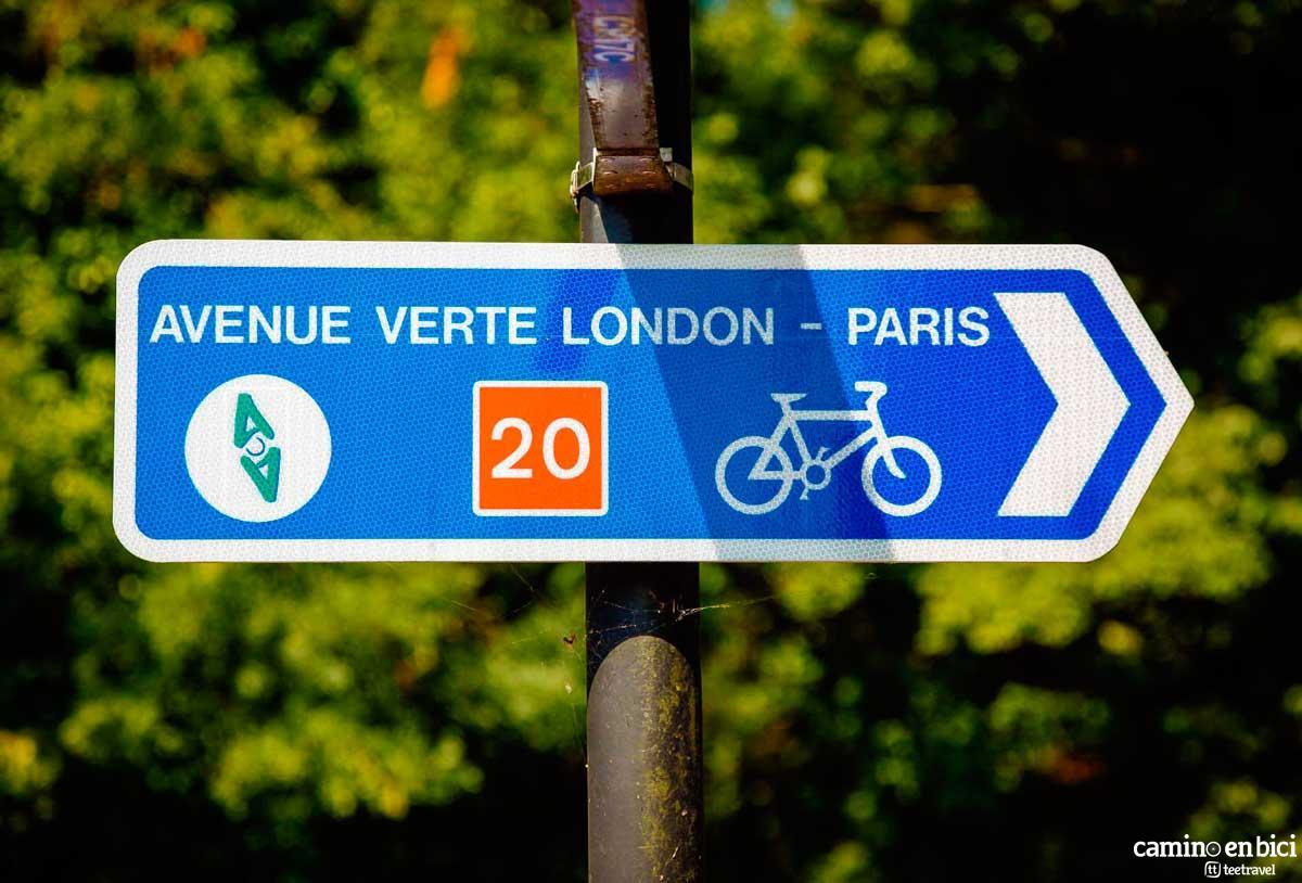 Ruta en Bicicleta - Avenida Verde: París-Londres - Señalización