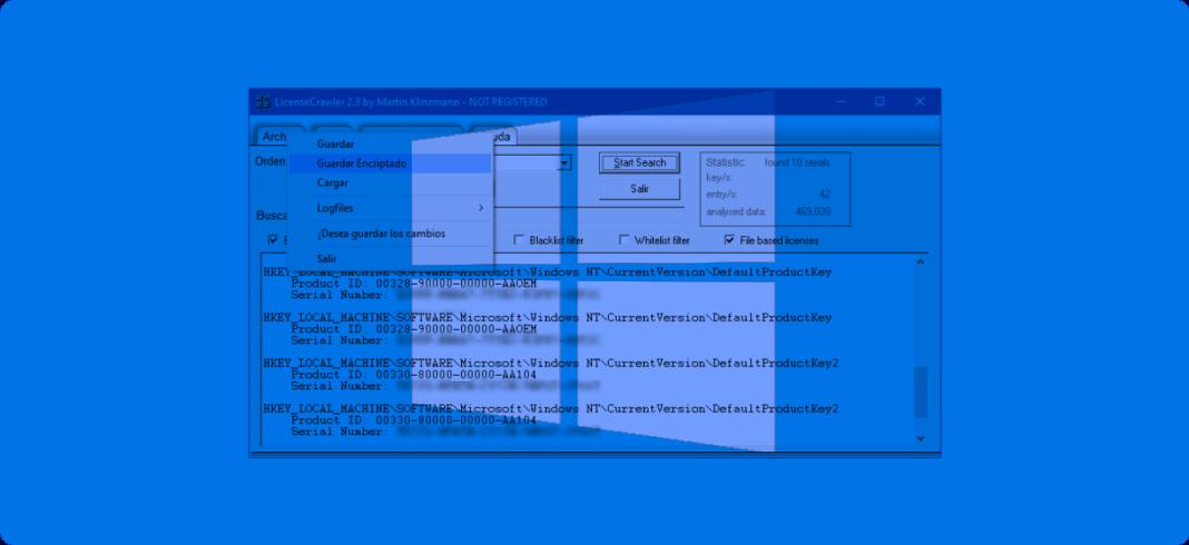 Usar LicenseCrawler para extraer licencias de programas instalados en Windows.