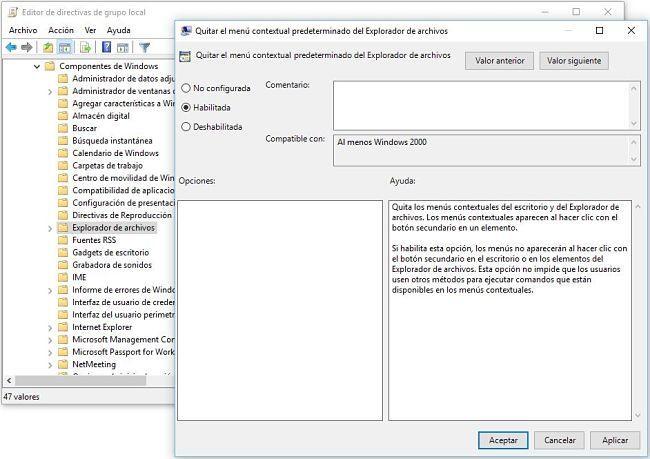Activar o desactivar el menú contextual en Windows
