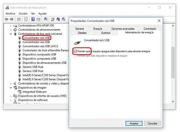Administrador de dispositivos de Windows. arreglar USB