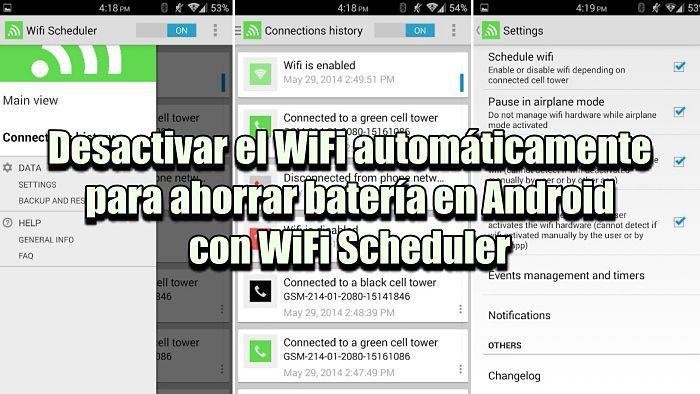 WiFi Scheduler: Desactivar el WiFi automáticamente para ahorrar batería en Android