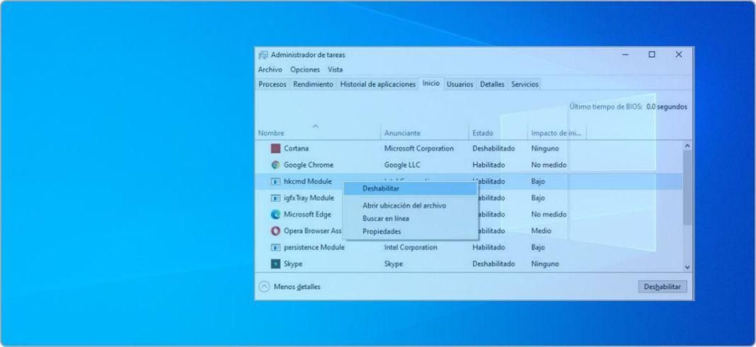 Desactivar programas de inicio en Windows 10, 8.1 y 7