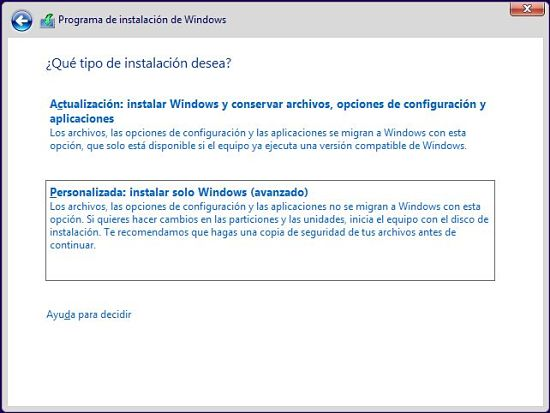 Instalacion de Windows 10 Preview