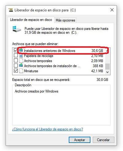 Cómo liberar espacio en Windows 10 eliminando instalación previa