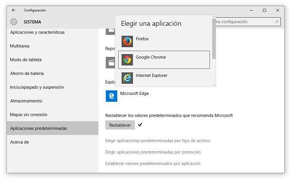 Pasos para cambiar navegador predeterminado en Windows 10