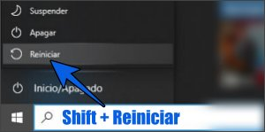 Shift + Reiniciar para iniciar Windows  10 en Modo seguro