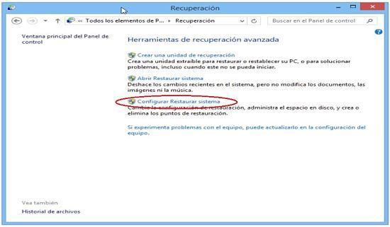 Crear punto de restauracion en Windows 8.1