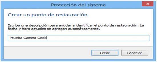 Crear punto de restauración en Windows 8.1