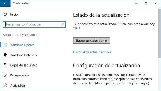 Cómo solucionar problema de audio en Windows 10; actualizar Windows