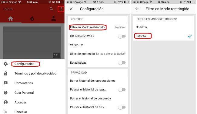 Habilitar el Modo restringido de YouTube desde el app en iPhone y el iPad