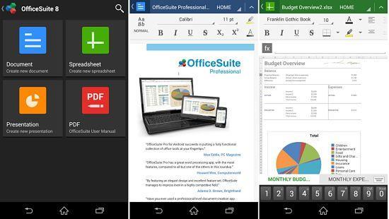 OfficeSuite Free está entre las mejores aplicaciones ofimáticas en Android