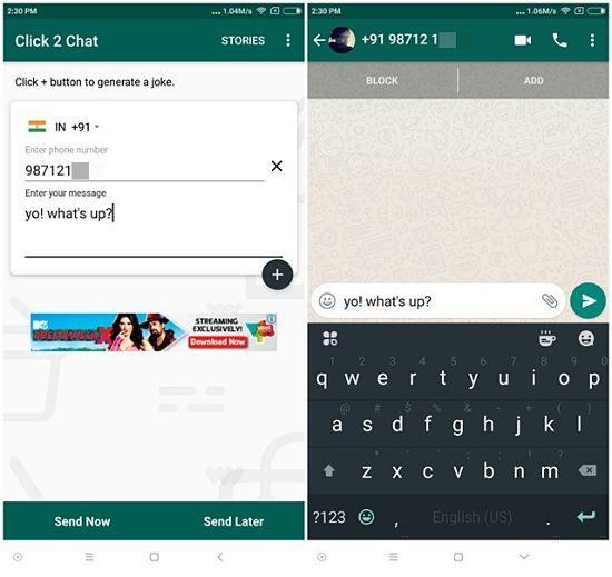 Click2Chat: Enviar mensajes de WhatsApp sin agregar contacto