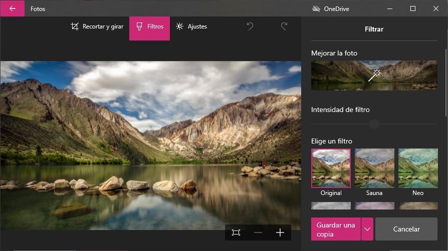 Mejorar fotos con la aplicación Fotos de Windows 10.