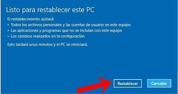 Cómo restablecer Windows 10