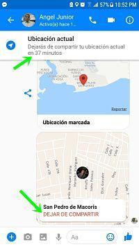 Compartir ubicación en tiempo real en Facebook Messenger