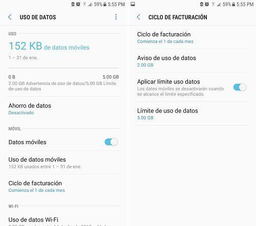 Desactivar datos móviles de aplicaciones