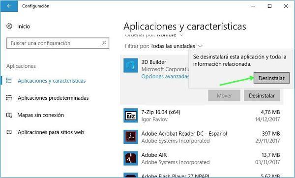 Reparar aplicaciones en Windows 10