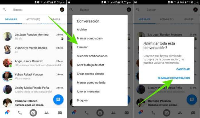 Cómo eliminar mensajes de Facebook Messenger