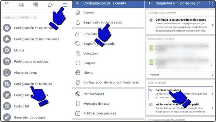 Resetear contraseña de FB en celular Android