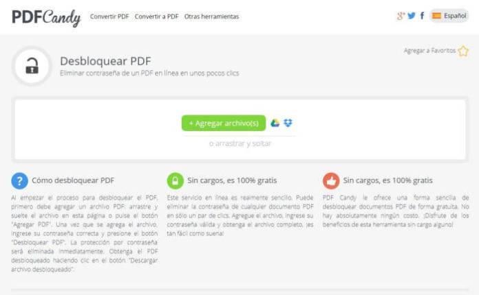 PDF Candy - quitar la contraseña a un PDF protegido