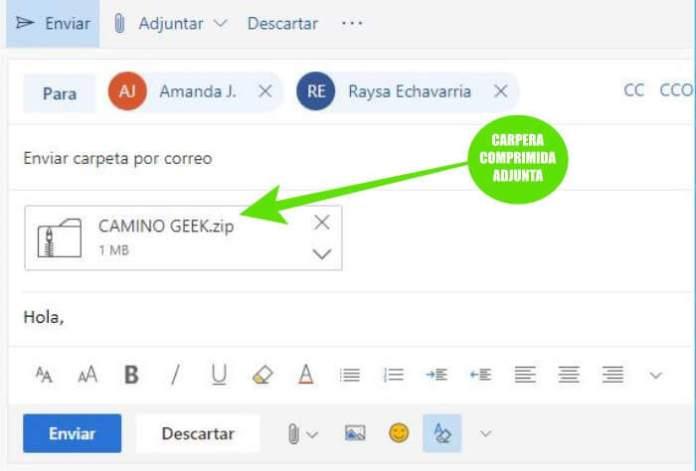 Comprimir una carpeta de archivos y enviarla por correo