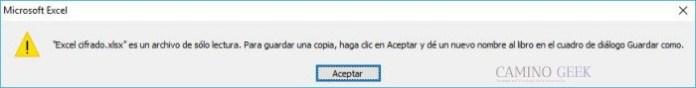 Mensaje de error al entrar a un Excel bloqueado sin la contraseña