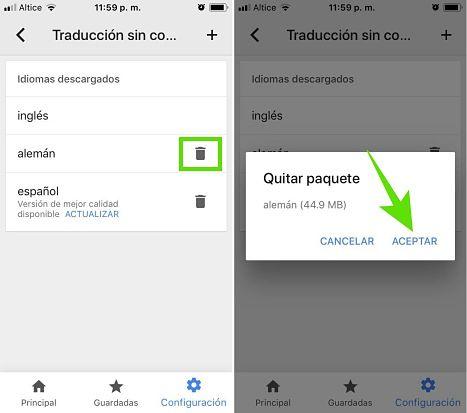 Eliminar idiomas descargados para usar el Traductor de Google sin internet
