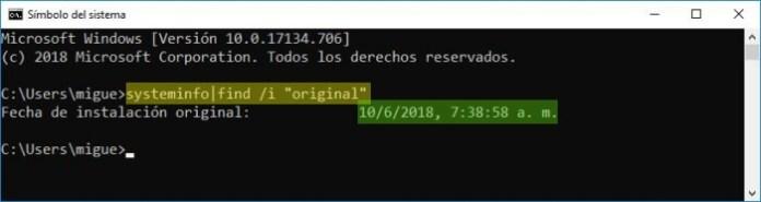 Saber la fecha de instalación de Windows.