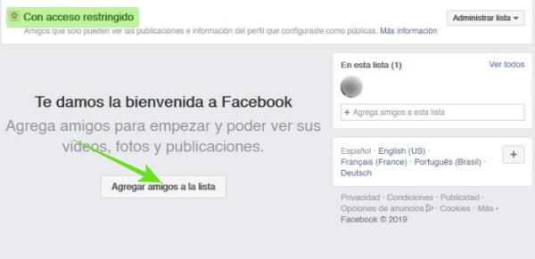 Acceso restringido de Facebook