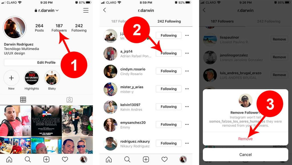 Como eliminar solitudes y  dejar de seguir a todos mis seguidores en Instagram