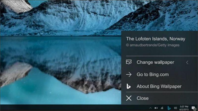 Bing Wallpaper cambia el fondo de escritorio de Windows diariamente con imágenes del buscador.