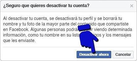 Cerrar o desactivar Facebook temporalmente
