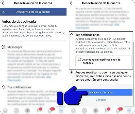 Cómo desactivar Facebook temporalmente desde el celular