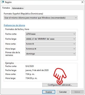 Configurar Windows 10 para mostrar el día de la semana en la barra de tareas