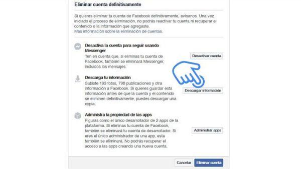 Cómo eliminar una cuenta de Facebook para permanentemente
