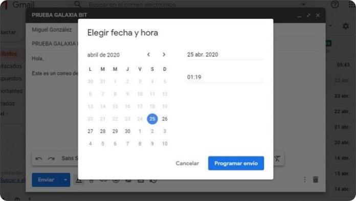 Programar un correo Gmail