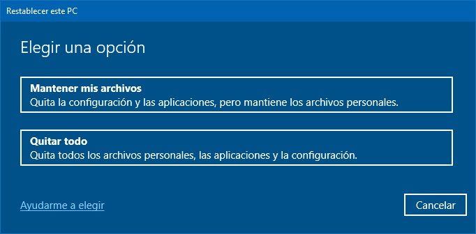 Restaurar PC de fábrica con Windows 10