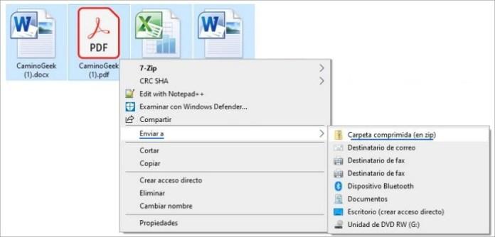 Comprimir archivos en Windows con función integrada.