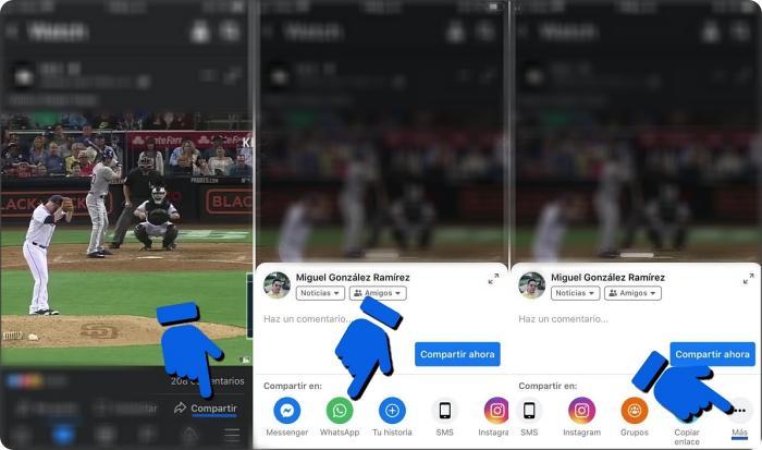 Mandar un video de Facebook a WhatsApp