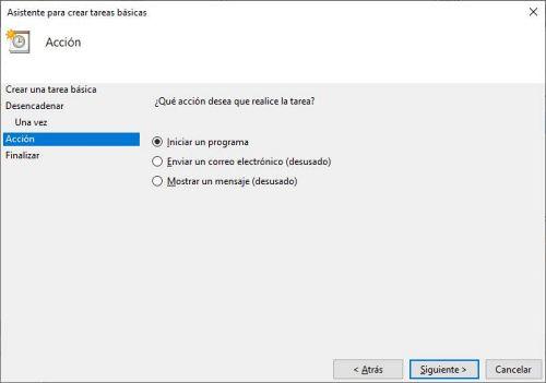 Programando una tarea para el apagado automático de Windows 10.