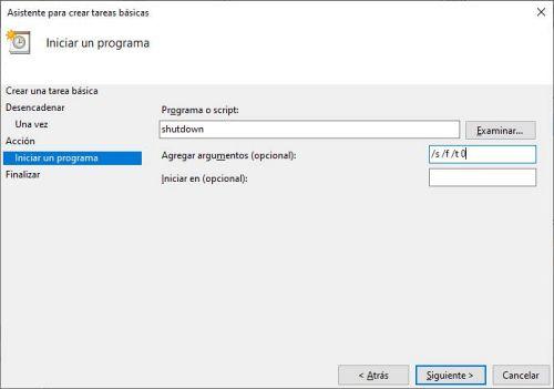 Programando una tarea para el apagado automático de Windows 10