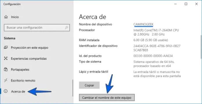 Cambiar nombre del equipo en Windows 10