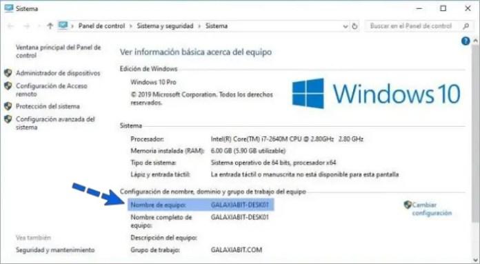 Cómo saber el nombre de mi PC en Windows 10.