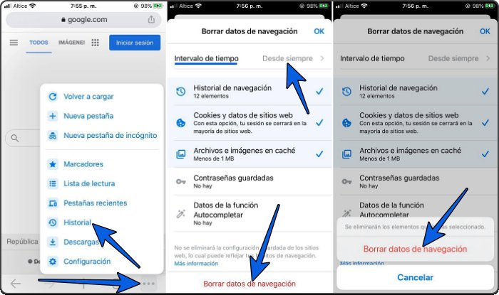 Eliminar historial web en iPhone y Android