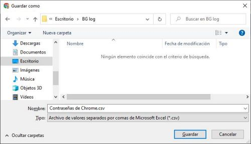 Guardar el archivos CSV exportado