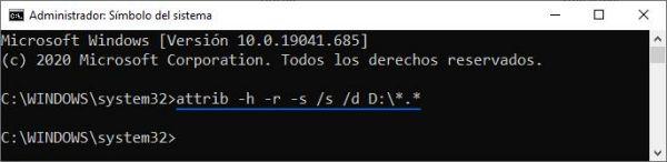 Desocultar archivos USB desde Símbolo del sistema (CMD) y comando ATTRIB